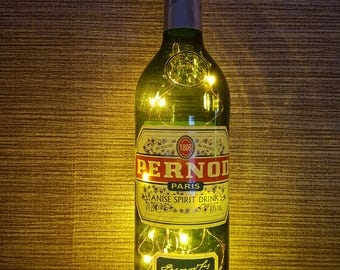 Up-cycled Pernod bottle lamp