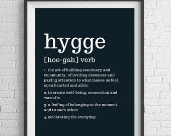 Hygge Definition and Motivation Print A4 Wall Art
