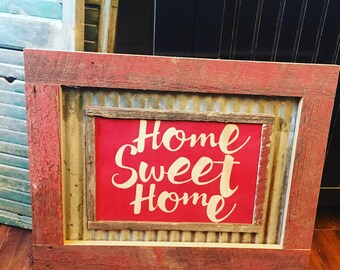 Home Sweet Home Tin and Barnwood Sign