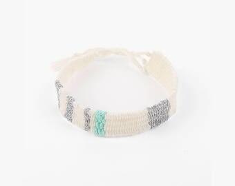 Friendship Handwoven Bracelets-White+Mint/Teal+Silver,weaving jewelry,Hand woven bracelet,best friend gift,Yarn Bracelet, Boho Jewelry