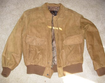 Suede Leather Bomber Jacket - M - Winlet - Great Shape!