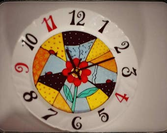 "Hand painted wall clock ""Flower Version"""