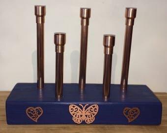 Copper & Blue Candlestick Holder