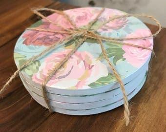 Ceramic hand decorated coasters