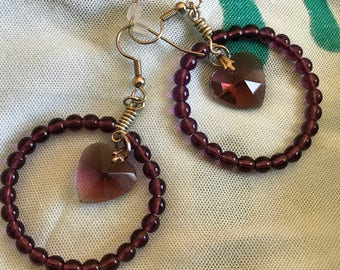 Beaded red with crystal heart