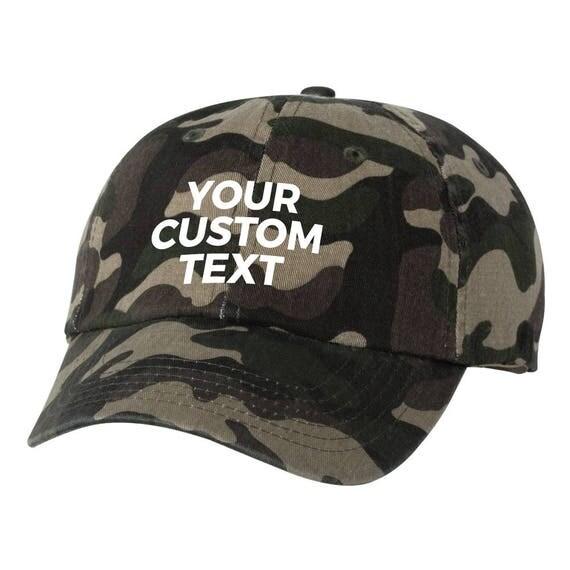 c835bca3d7d23 Camo Custom Dad Hat Camoflauge Your Custom Text Cap Strapback