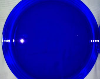 Blue glass serving plate