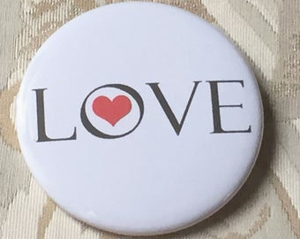 Love Button, Red Heart, 2.25 pinback
