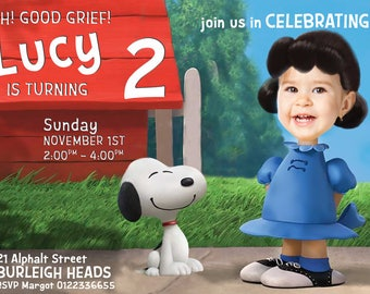 Lucy Van Pelt Peanuts Invitation - YOUR CHILD as LUCY, Photo invite, Snoopy Party Invitation for girl  Charlie Brown Invite -Digital File
