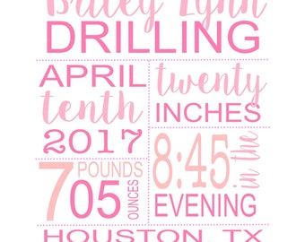 Baby Birth Stats, Customizable Gift for Newborn