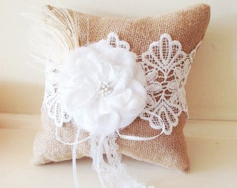 Rustic Burlap Lace  Ring Pillow Bearer with Ivory Flower Feather  Wedding Ceremony Party Hessian Decoration Favor