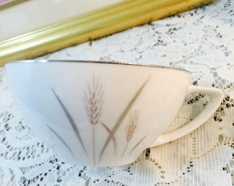 Platinum Wheat Flat Tea Cup By Fine China Of Japan