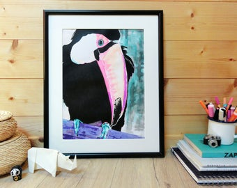 Toucan, ink painting, fluorescent pink, ORIGINAL