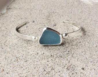 Sea Glass Bracelet Sterling Silver Cornflower Blue