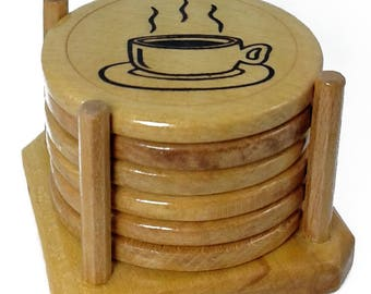 Wooden Coasters Set - Made Of High Quality Beech Wood - Wood burning engraving