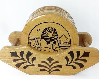 Egypt Sphinx & Pyramid Round Wooden Coasters Set - Egypt