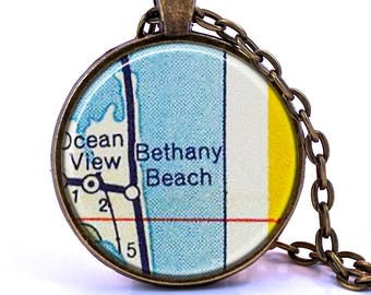 Bethany Beach, Delaware Map Pendant Necklace - Created from a vintage map published in 1956.