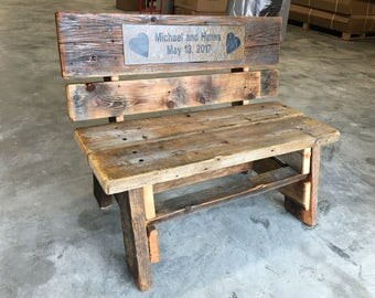 Barnwood Bench with Optional Wedding Date Tile Insert