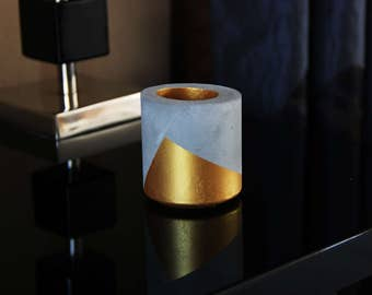 Concrete/gold candlestick