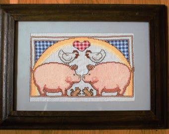 Cross stitch picture. Farm animals.