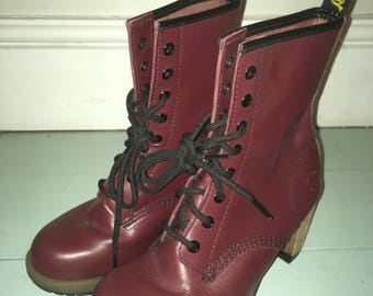 Dr Martins Red / Maroon heeled boots size UK 4 / Euro 37
