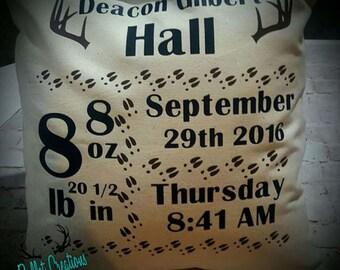 Deer Birth announcement pillow case