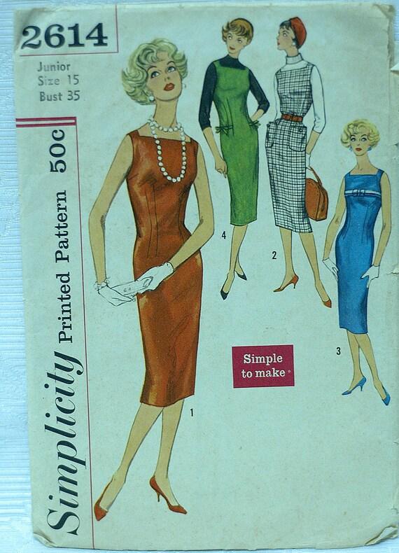 Simplicity 2614 1950's dress pattern Square Neck Sleeveless Sheath Dress Pinafore…
