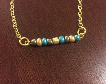 Blue, Gray, and Gold Beaded Necklace