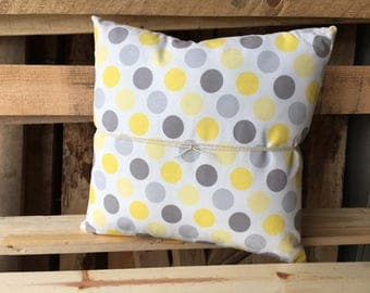 Grey and Yellow Dots Decorative Pillow