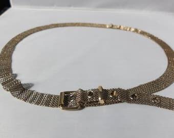 Vintage Gold Mesh Belt - 1970s Gold Tone Metal Belt, Vintage Accessories, Retro Belt