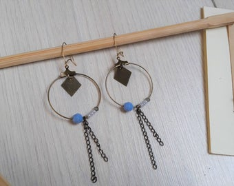 Pearls and brass diamond hoops