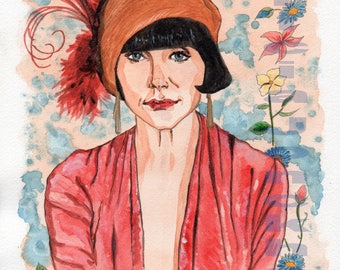 Watercolor of Essie Davis as Miss Fisher, detective TV series