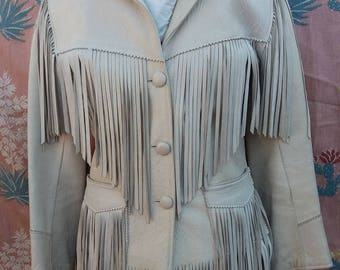 Vintage 1950s 50s Western Fringed Rockabilly Ladies Leather Suede Long Sleeve Small Jacket