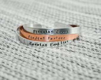 Personalized hand-stamped bangle bracelet, set of three.