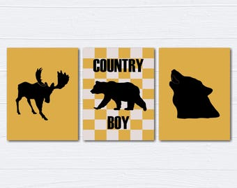 Woodland Nursery Decor/Nursery Wall Art/ Kids Bedroom Decor/Bear/Moose/Wolf/Nursery Canvas/ Set of 3