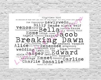 Breaking Dawn Twilight Saga Film / Movie Word Art Print A4