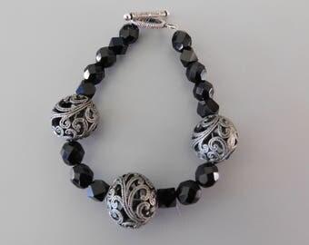 Black and Gunmetal Beaded Bracelet