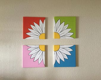 Set of four canvasses, acrylics  - Daisy