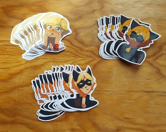 A selection of Chat Noir stickers