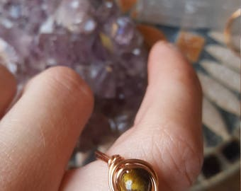 Copper wire wrapped golden and red tigers eye rings