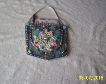 Pad Pocket with crochet doily, beads, notepad and pen. Free Siipping in U.S.
