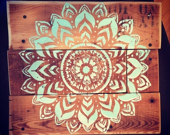 Handmade rustic accent table w/hand painted mandala flower