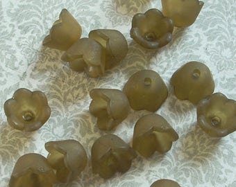 Lucite Acrylic Flower Beads, Small Bell Flowers, Matte Olive, 24