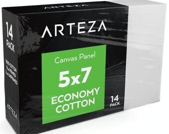 Arteza 5 X 7 Canvas Panels, Economy-Cotton (Pack of 14)