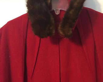 "1950's El Candida ""Exclusively for Windermere"" Cherry-Red Cashmere Coat with Mink Collar"