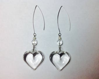 Clear Heart Earring