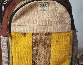 Hemp Backpack - Laptop Backpack - Striped Front Pocket