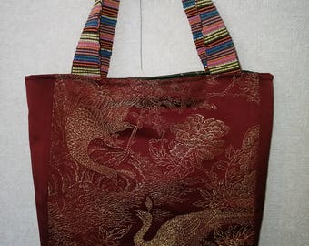 Bag Made from Obi Peacock pattern