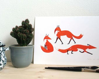 Print // three red foxes looking to the right // A4 print