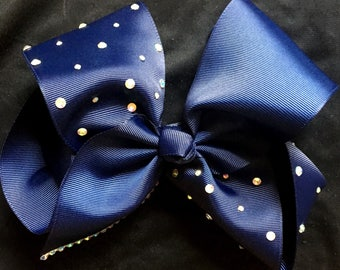 navy dance bow with rhinestones